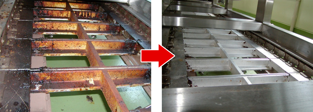 食品工場のアルミ製コンベア(全長20m)